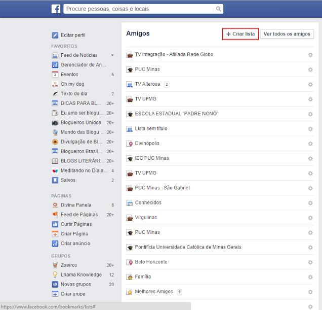 passo a passo como criar lista no facebook