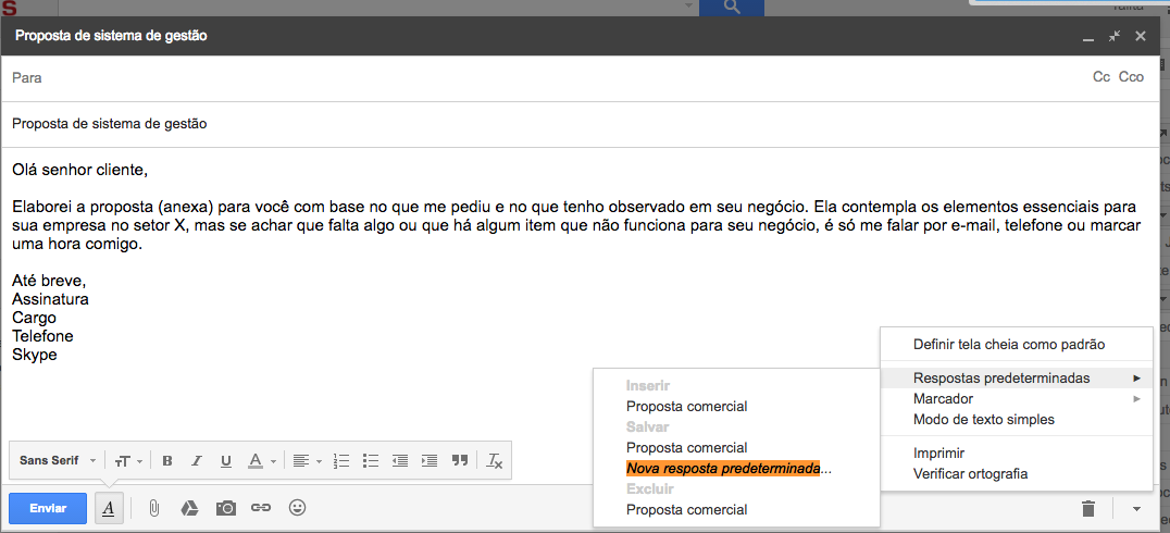 como salvar modelo de e-mail no gmail