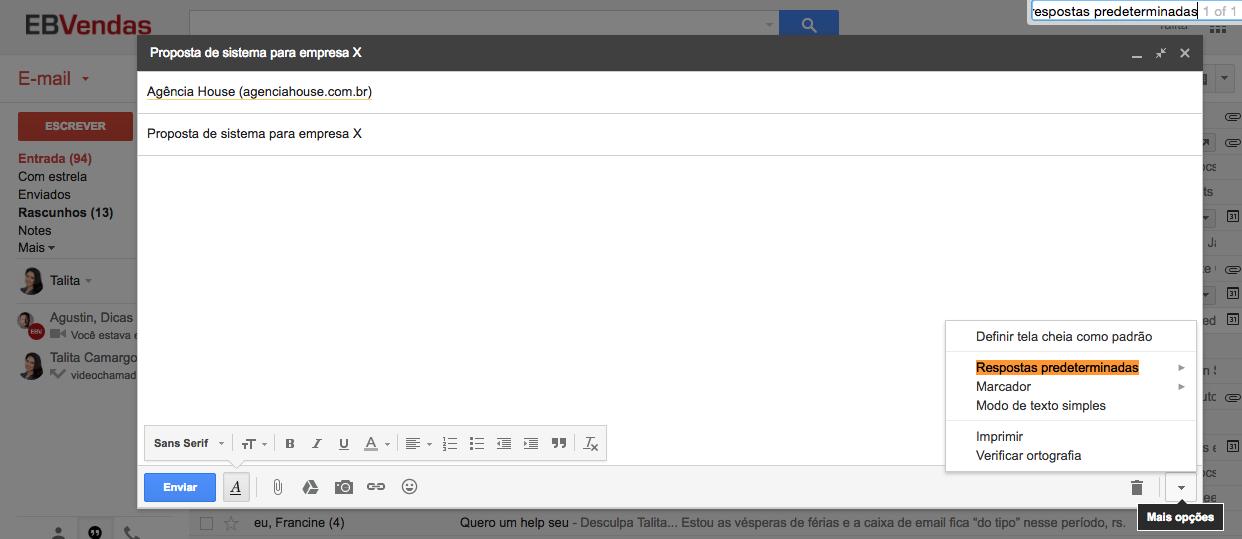 como usar resposta predeterminada no gmail