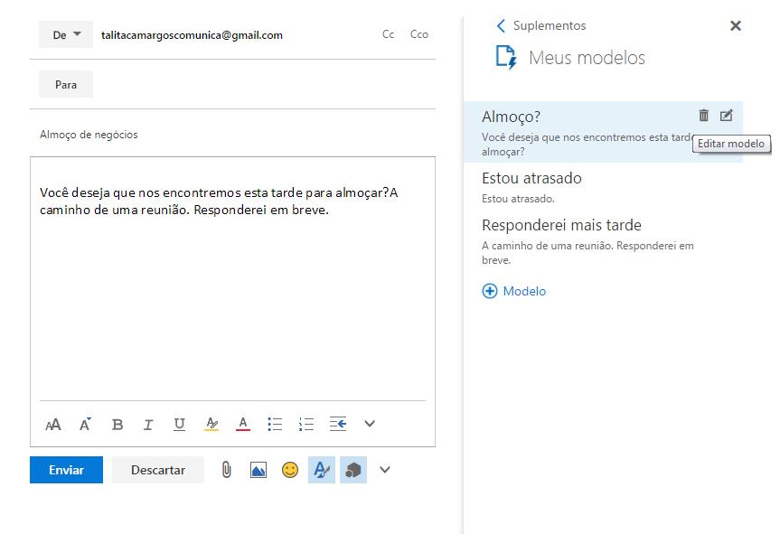 passo 2 como editar modelo de e-mail no outlook